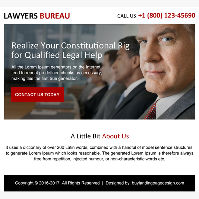 lawyers bureau ppv landing page design Attorney and Law example