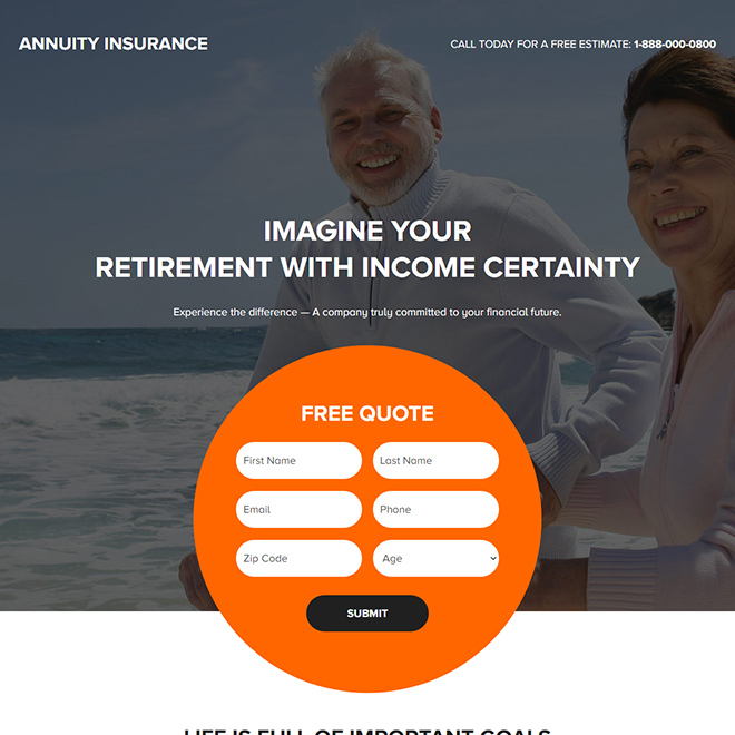 annuity insurance lead capture responsive landing page Retirement Planning example