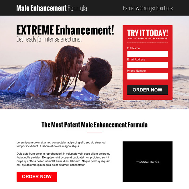 modern and converting lead capture responsive landing page design for male enhancement Male Enhancement example
