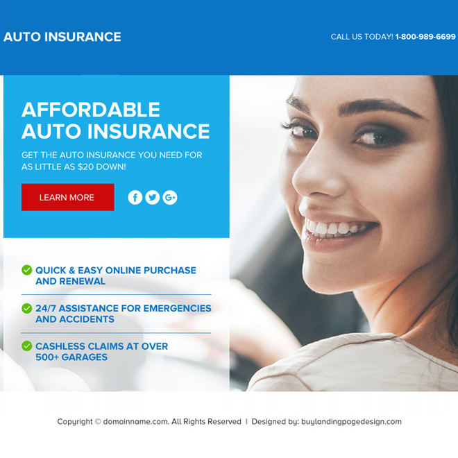 auto insurance responsive lead funnel landing page design Auto Insurance example