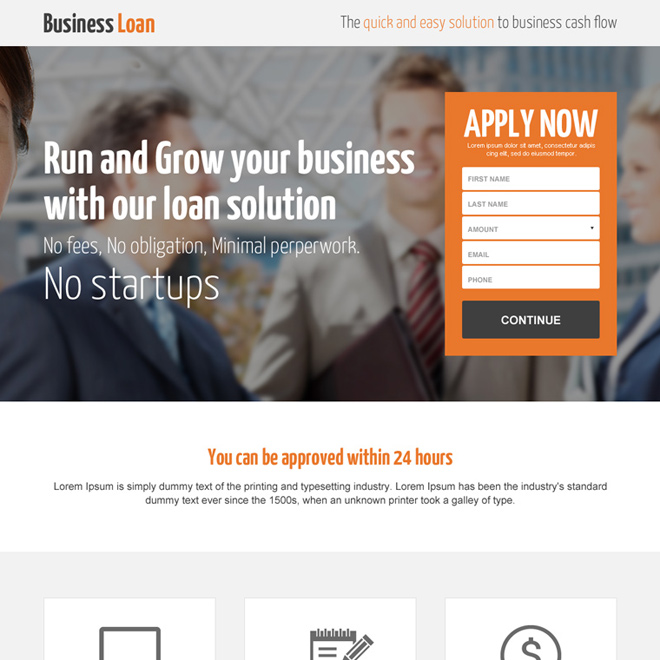 lead generating business loan professional landing page design Business Loan example