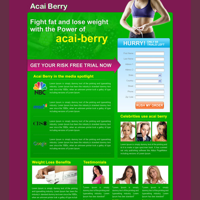 lead generating creative weight loss landing page design for sale Weight Loss example