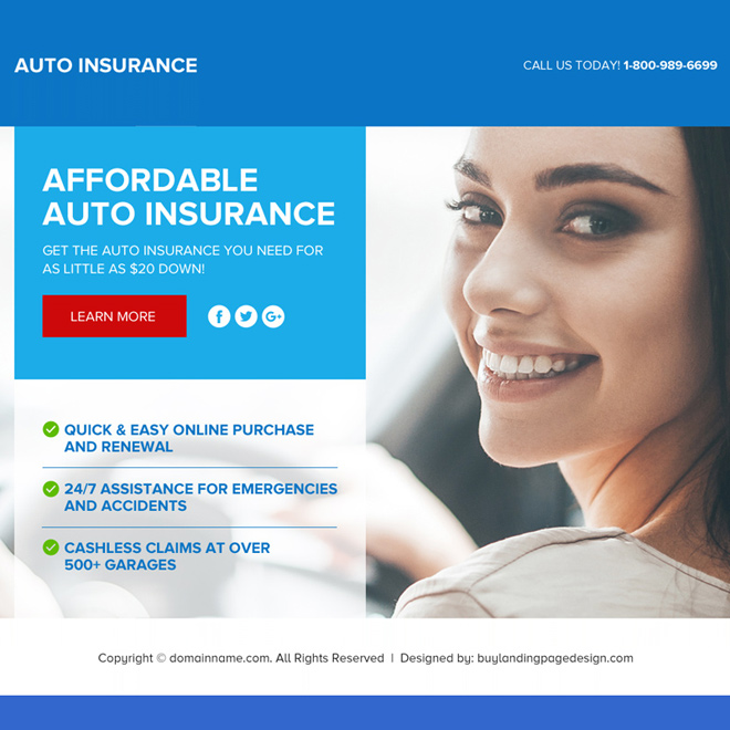 auto insurance lead capturing funnel page design Auto Insurance example