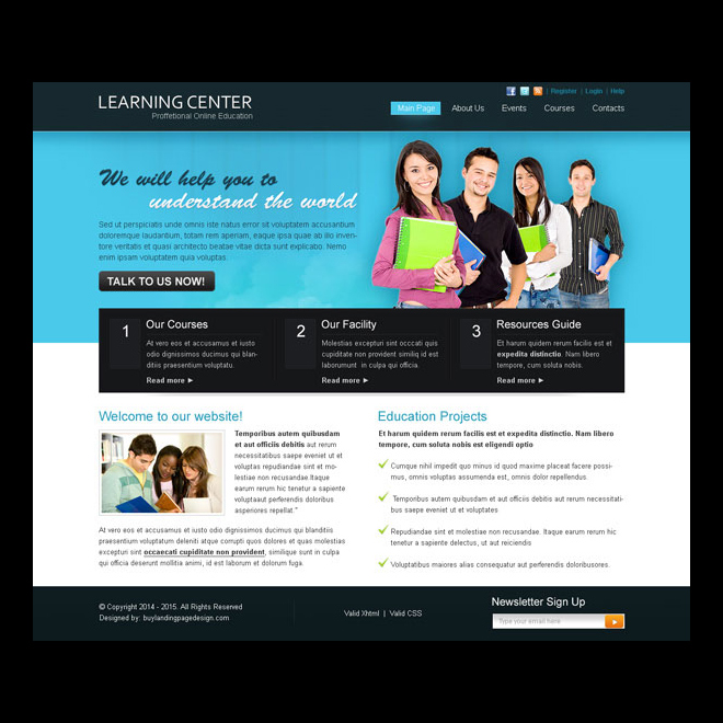 learning center professional and attractive website template design psd Website Template PSD example