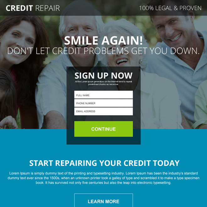 legal and proven credit repair responsive landing page design Credit Repair example