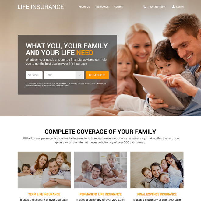 responsive life insurance agency website design template Life Insurance example
