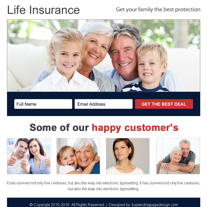 life insurance best deal free quote ppv landing page design Life Insurance example