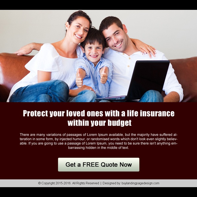 life insurance call to action ppv landing page design template Life Insurance example