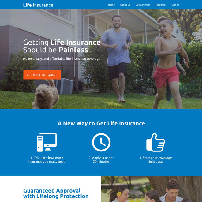 responsive life insurance company free quote lead capturing website design Life Insurance example
