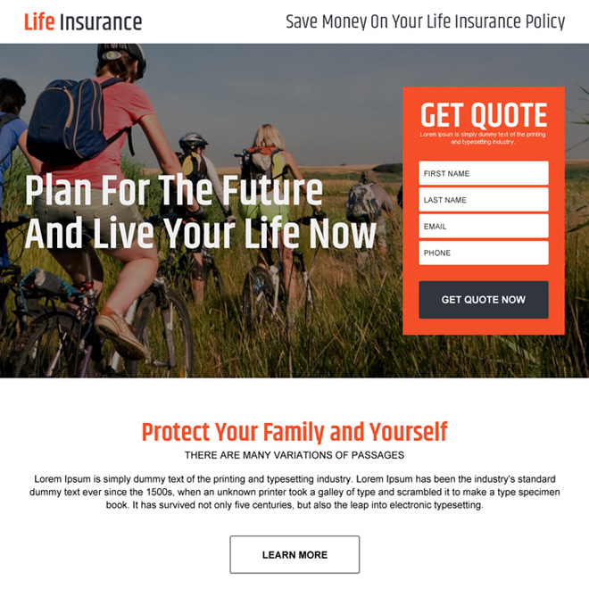 clean and converting life insurance lead gen landing page design Life Insurance example
