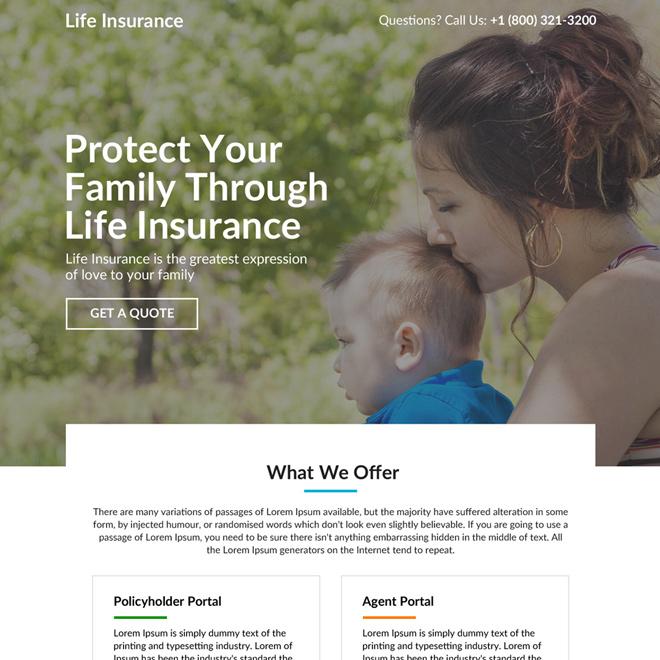 minimal life insurance responsive landing page design Life Insurance example