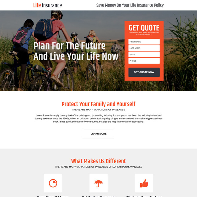 life insurance policy for family responsive landing page design Life Insurance example