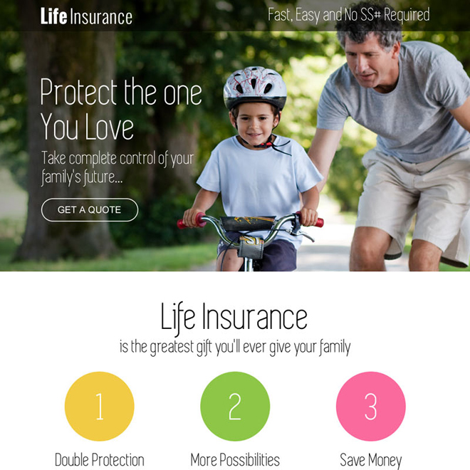 life insurance free quote service call to action landing page Insurance example
