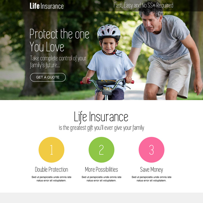 responsive life insurance free quote lead capturing landing page Life Insurance example