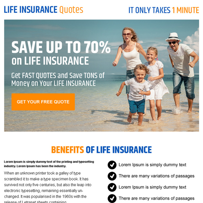 life insurance quote converting call to action ppv landing page design Life Insurance example