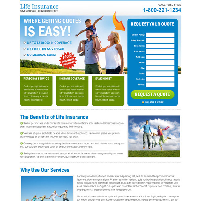 clean life insurance user friendly and effective lander design Life Insurance example