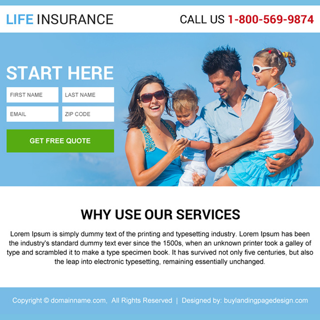 life insurance service lead generating ppv design Life Insurance example