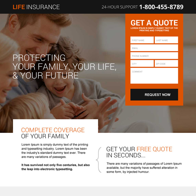 life insurance plans responsive landing page design Life Insurance example