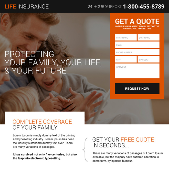 life insurance plans for future leads landing page design Life Insurance example