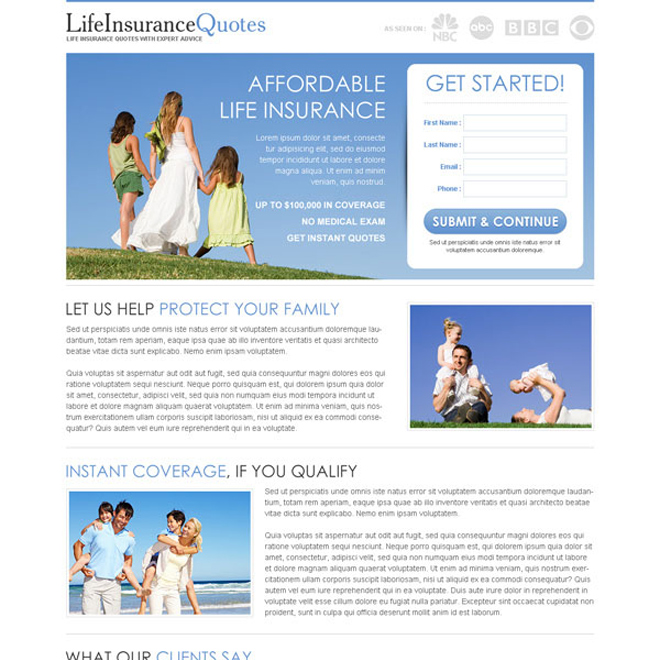 clean and minimal life insurance quotes lead capture page Life Insurance example