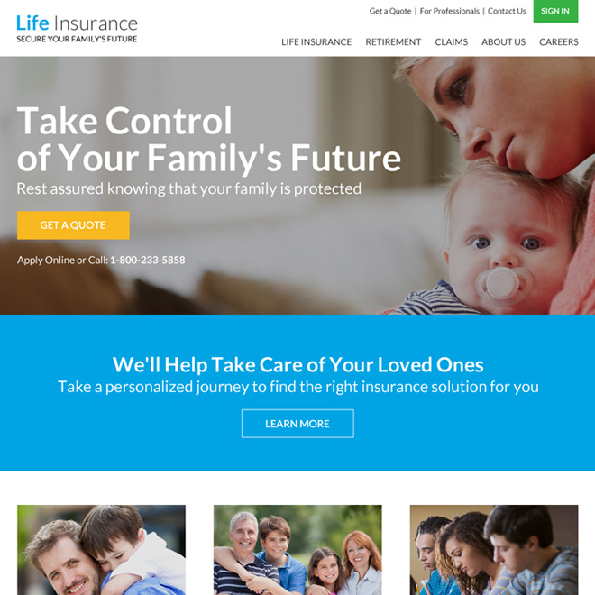life insurance free quote website design template Life Insurance example