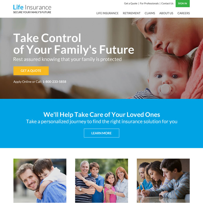professional life insurance responsive website design Life Insurance example