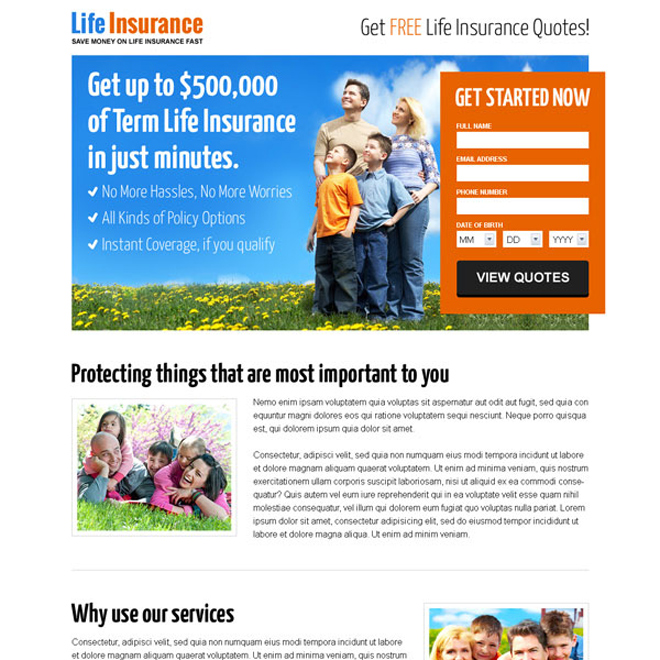 life insurance free quote lead capture landing page design template Life Insurance example