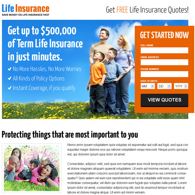life insurance free quote lead capturing responsive landing page Life Insurance example