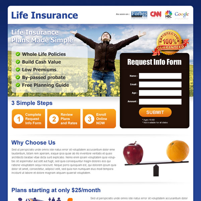 life insurance business lead capture landing page design Life Insurance example