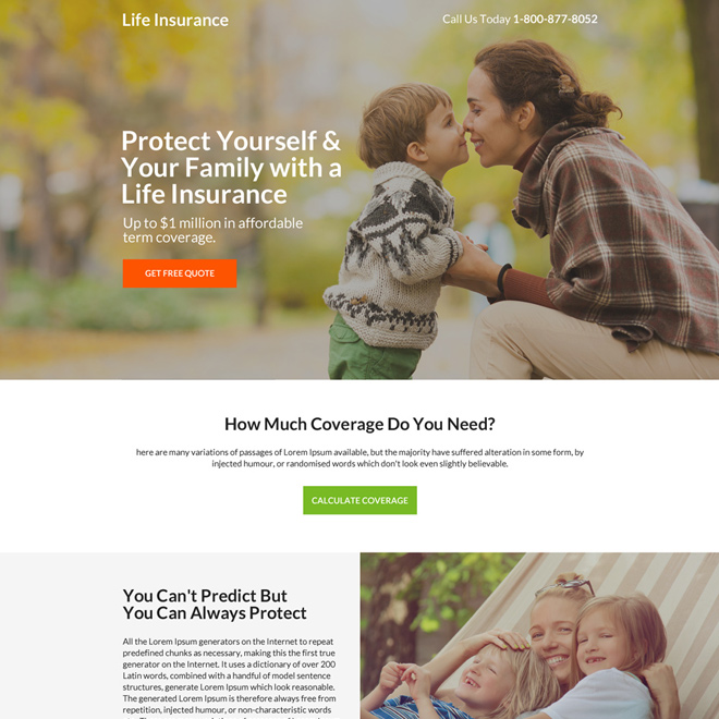 life insurance term coverage free quote mini landing page design Life Insurance example