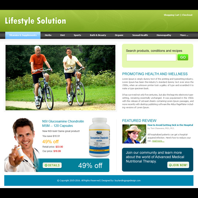 lifestyle solutions website template design psd for sale Website Template PSD example