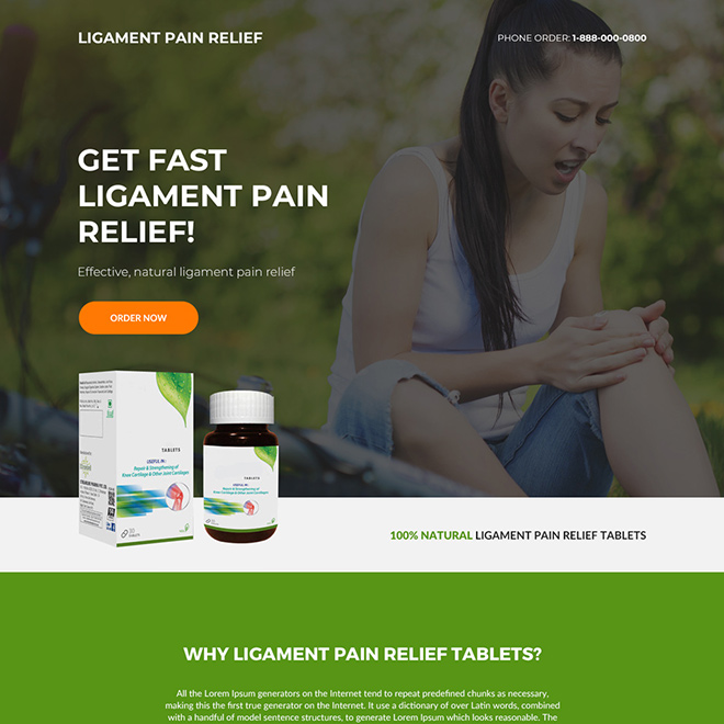 ligament pain relief tablets selling responsive landing page Pain Relief example