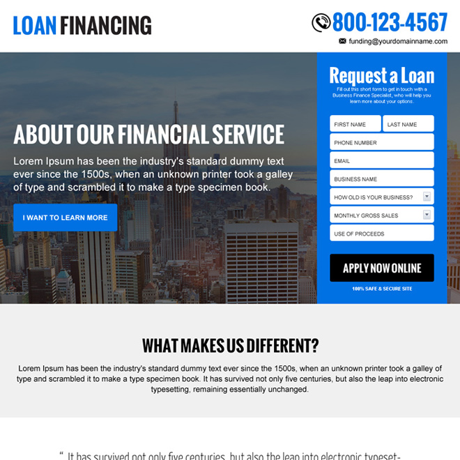 clean loan financing company lead gen landing page design Loan example