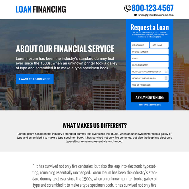 loan financing free quote responsive landing page design Loan example