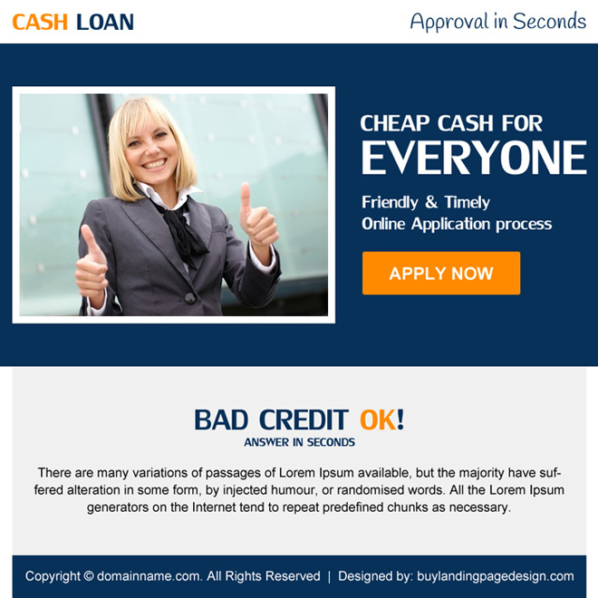 bad credit cash loan ppv landing page design Loan example