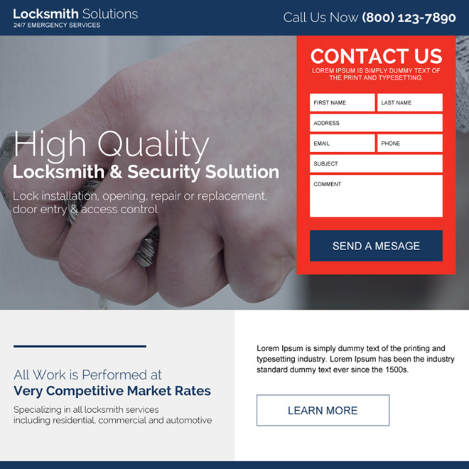 locksmith and security solutions clean landing page Locksmith example
