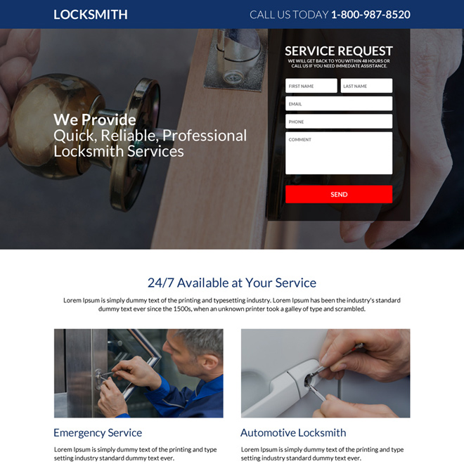 responsive locksmith service request lead generating landing page Locksmith example