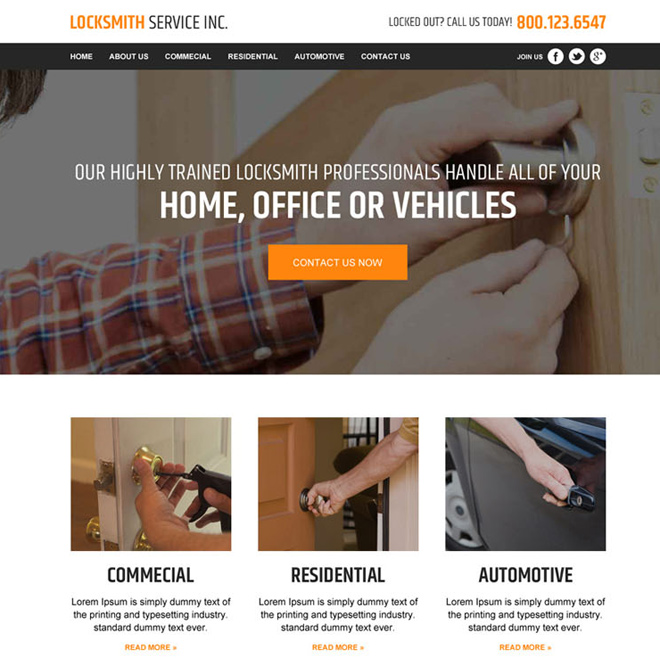 locksmith service responsive website template design Locksmith example