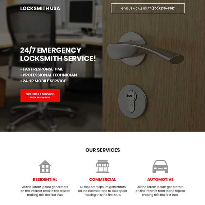 locksmith service free quote bootstrap landing page Locksmith example
