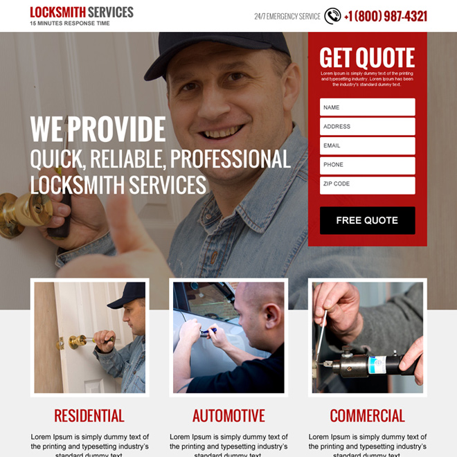 locksmith services free quote lead capturing landing page design Locksmith example