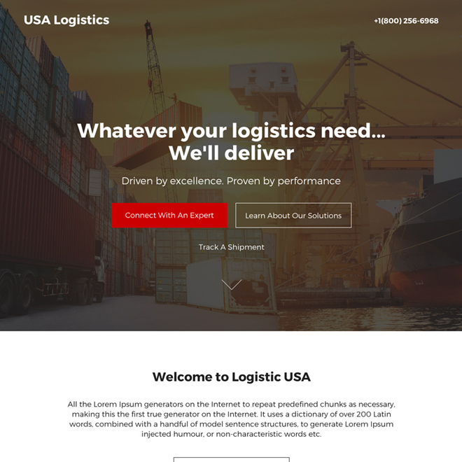 logistic solutions professional landing page design Transportation example