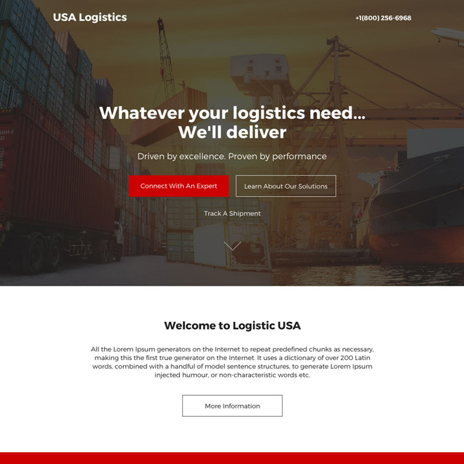 logistic services modern responsive landing page design Transportation example