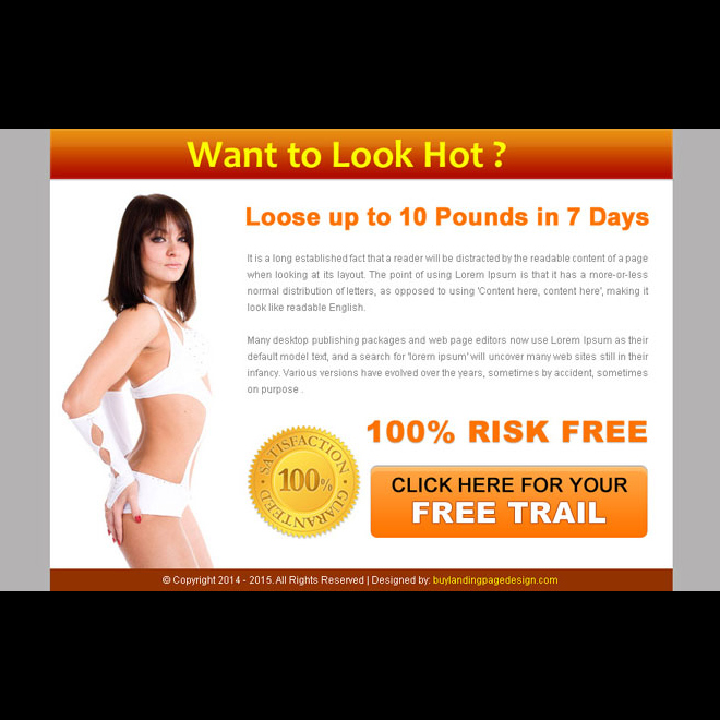 look hot call to action converting weight loss ppv landing page design Weight Loss example
