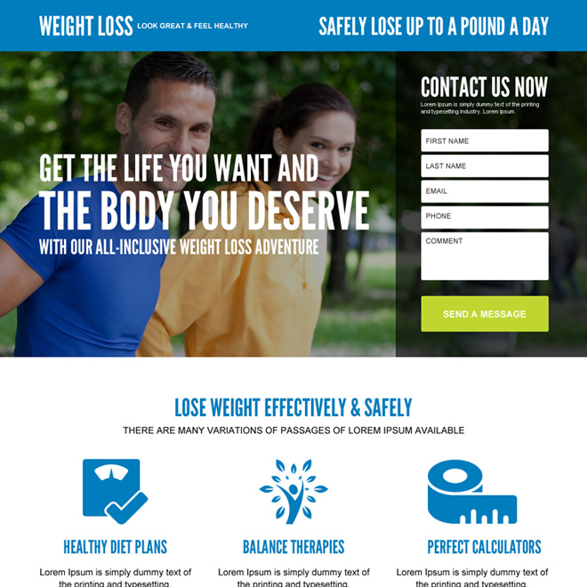 lose weight effectively and safely converting landing page design Weight Loss example