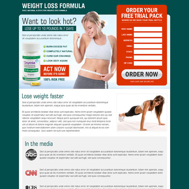 weight loss formula product very beautiful and converting lead capture squeeze page design to increase sale of your product Weight Loss example