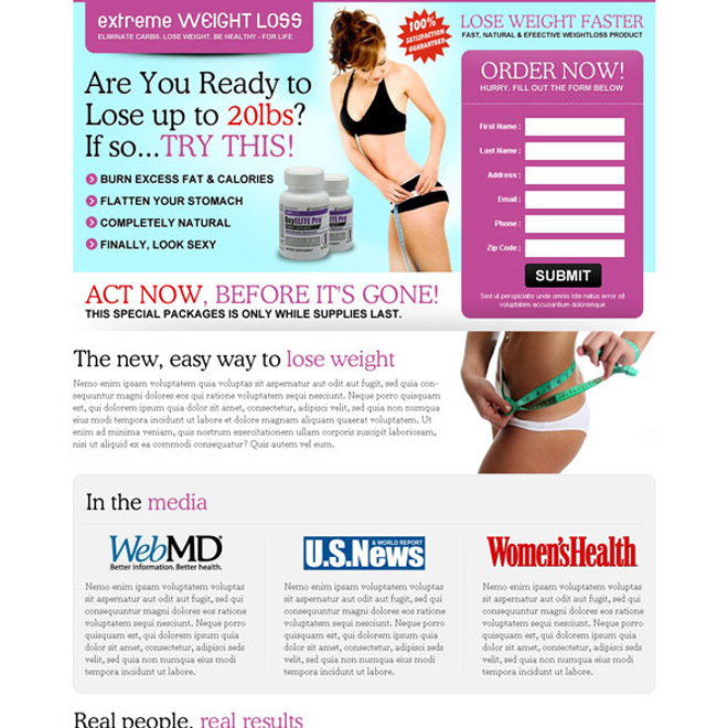 extreme weight loss lead capture page design Weight Loss example