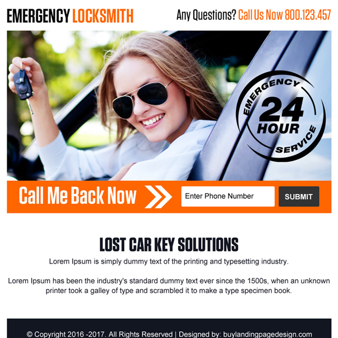 emergency car key solutions ppv landing page design Locksmith example
