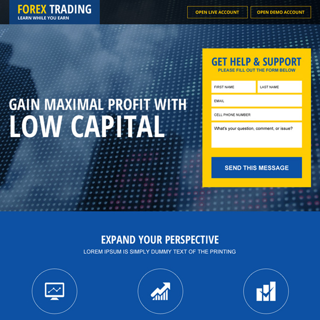 top forex brokers lead generating landing page design Forex Trading example