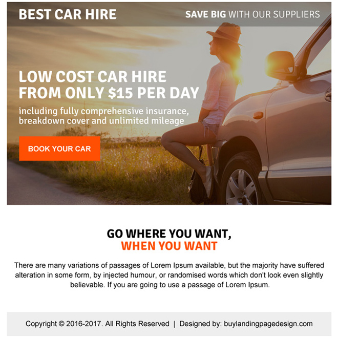 low cost car hire ppv landing page design Car Hire example