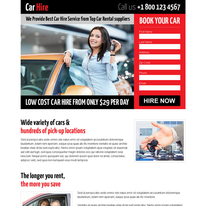 attractive low cost lead capture landing page design for car hire Car Hire and Car Rental example